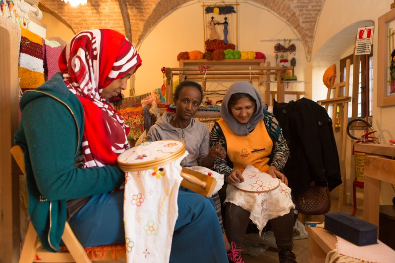 The sewing workshop where Selma from Somalia work, Fthacuit from Eritrea and Zahra Afghanistan.