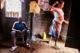 Peter, Christine's husband, is 22 years old. They got married when they where respectively 19 and 15. They lost her first child just three days after he was born, most likely due to umbilical cord infection. Bakumba, Cameroon. 2014