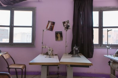 """Sewing machines in the room where a sewing class is held for aspiring seamstresses at the association """"El Amane pour le femme et l'enfant."""""""
