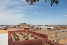 A view of Marrakech from one of the many red bricks terraces that characterize the city.