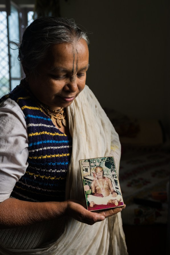 Danwanti married her husband (than 25) at the age of 15. After three years of marriage, her husband died from malaria. 15 years ago she left behind everything and came to Vrindavan. She has one son and one daughter. She loves to sing devotional songs to Krishna.