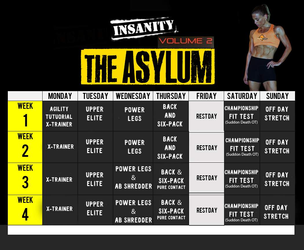 Insanity Asylum 2 Workout Calendar
