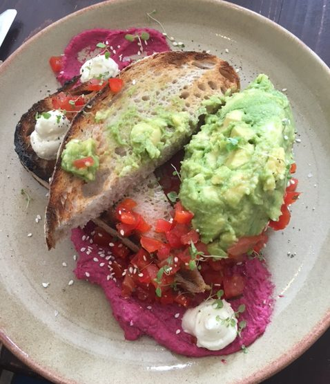 Smashed avocado at Friends of Ours