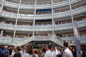 Hundreds of folks gathered in the Navistar atrium in 2012 to hear about Rockin' for the Troops, held the third Saturday in July.