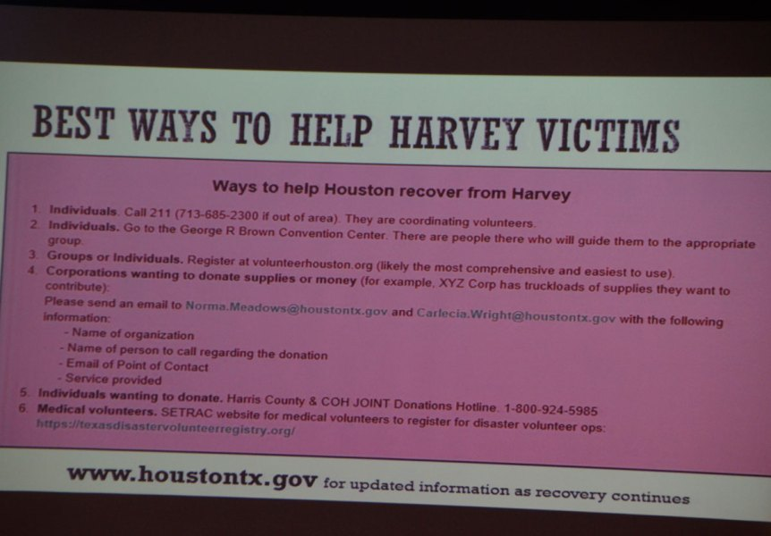 City hosts community meeting on Hurricane Harvey Response     RELATED PN POST   Good advice regarding scammers in wake of Hurricane  Harvey BE WARE
