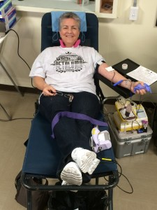 Laurie Cameron of Wake Up Enterprises donating blood