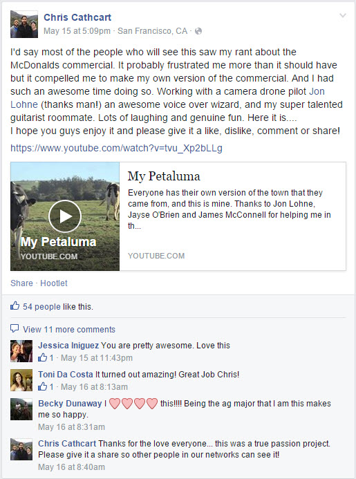 Chris Cathcart Facebook Post on My Petaluma Video