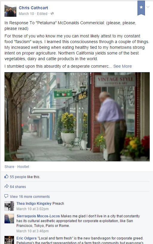 Chris Cathcart Facebook Post on Petaluma McDonalds Commercial