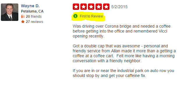 Positively Petaluma First To Yelp Review Vicci Coffee Cart