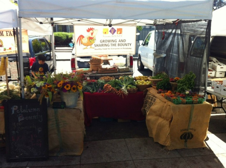 The Petaluma Bounty Farm stand at the Walnut Park Farmer's Market in Petaluma.  Photo courtesy of Petaluma Bounty.