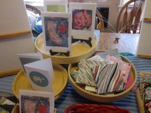 Petaluma Holiday Crafterino Handmade Cards Display