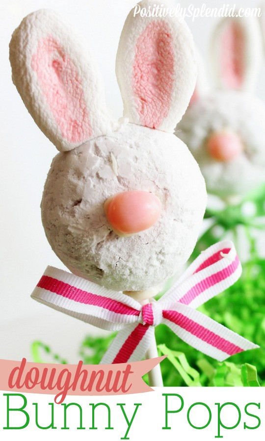 These doughnut bunny pops are so perfect for Easter! Cute!