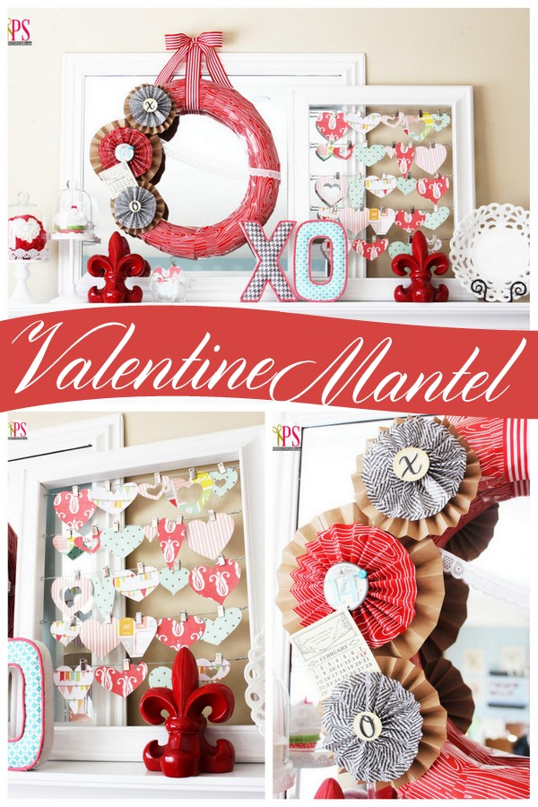 Love the framed scrapbook paper hearts collage! Valentine's Day Mantel Ideas via Positively Splendid