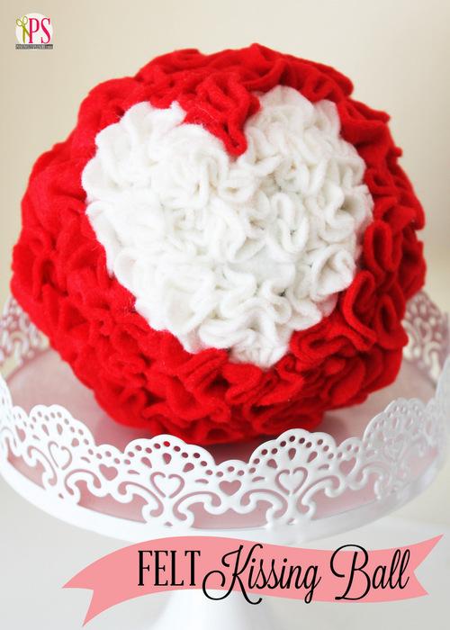 Felt Heart Kissing Ball Craft