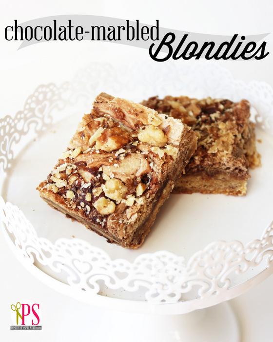 Chocolate-Marbled Blondies Recipe :: PositivelySplendid.com