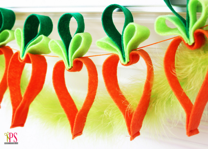 Easy Felt Carrot Garland Easter Craft :: PositivelySplendid.com