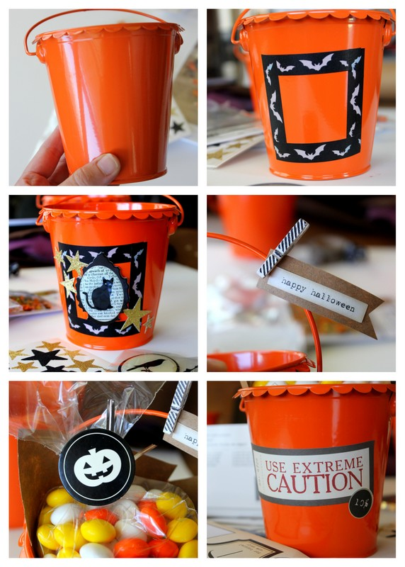 These Halloween treat buckets at Positively Splendid can be made in minutes! So perfect for class parties, neighbor gifts, and more!