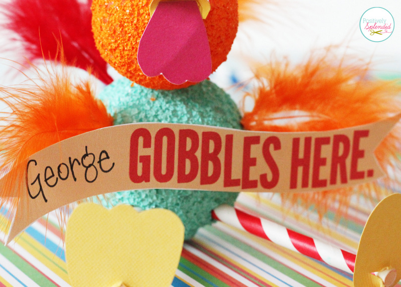 Darling kids' Thanksgiving craft with free printables to make them double as place cards! #turkeytablescapes