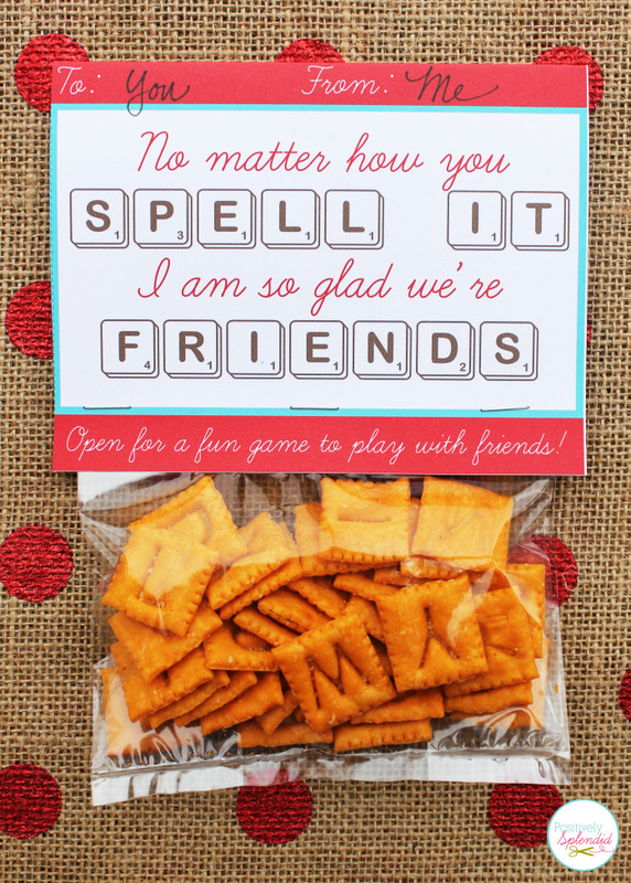 Edible Scrabble valentine idea, including a free printable card with a game board inside. So fun!!