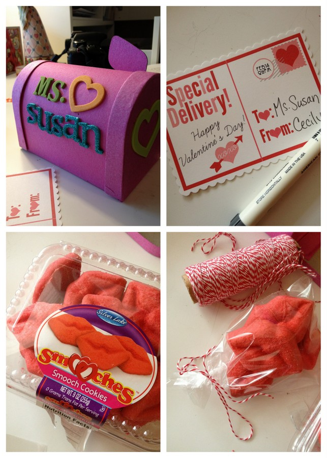 Mailbox treat boxes with free printable Valentine's Day postcards. Filled with ready-made bakery items, these are an easy last-minute Valentine's Day idea for teachers, neighbors and more! #bakerybecause