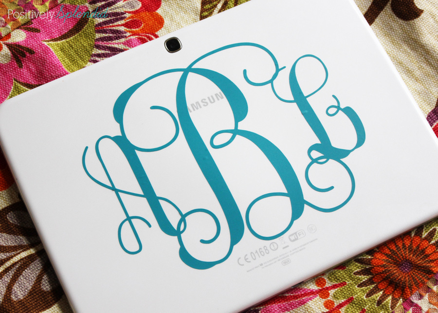 Use adhesive vinyl to add a pretty monogram to the back of a tablet computer.