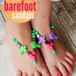 "These barefoot ""sandals"" made with stretch cord and beads are such a fun kids' craft project!"