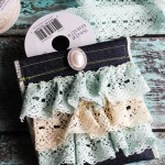 Denim and Lace Ruffled Pouch