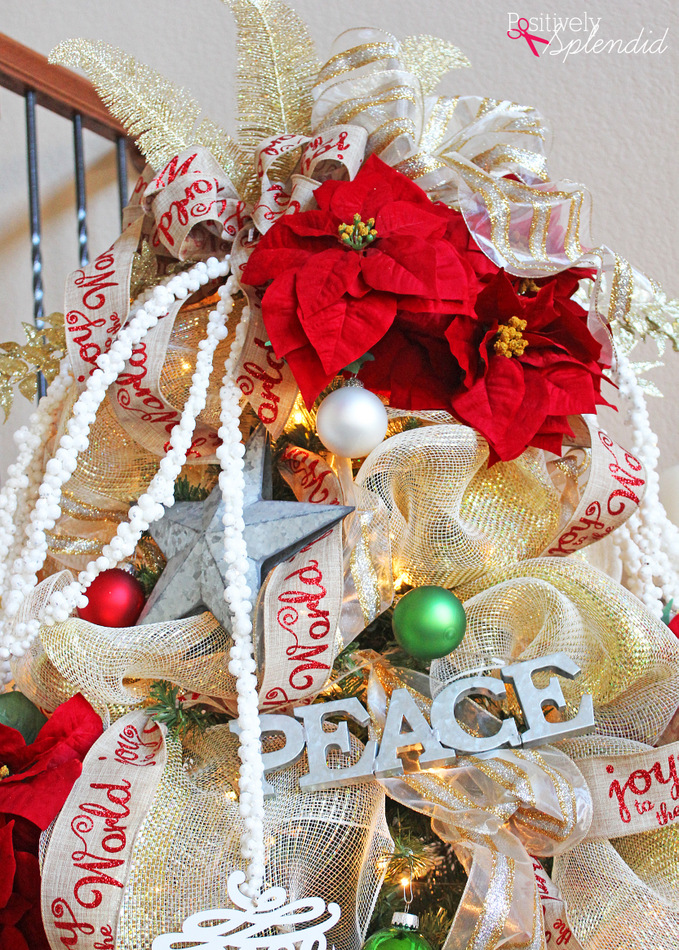 Poinsettia and Ribbon Christmas Tree #MichaelsMakers