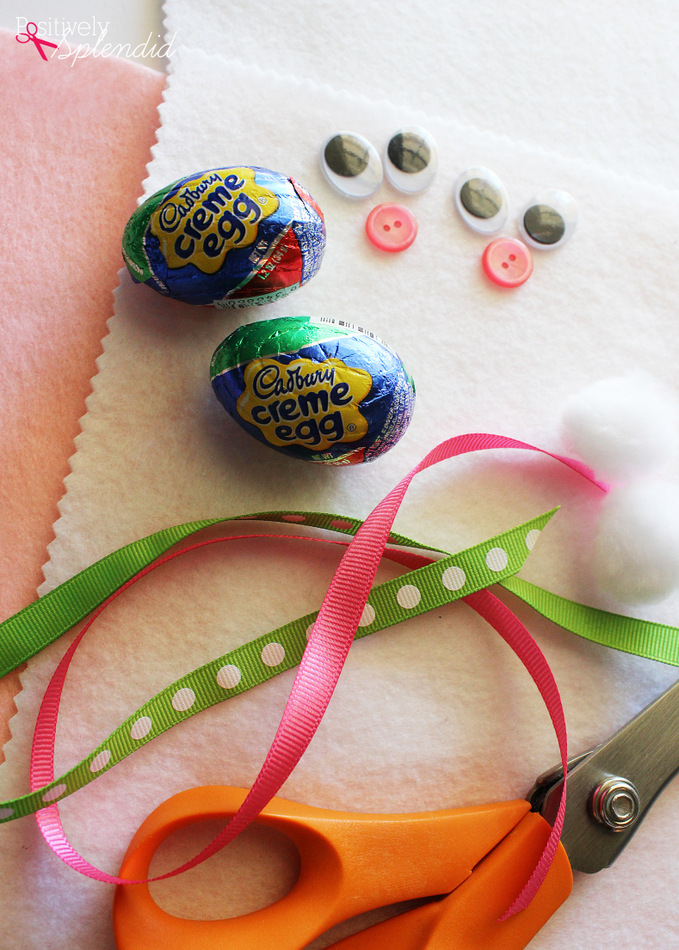 Adorable bunnies made with Cadbury Creme Eggs. A perfect treat for Easter baskets! #HersheysEaster