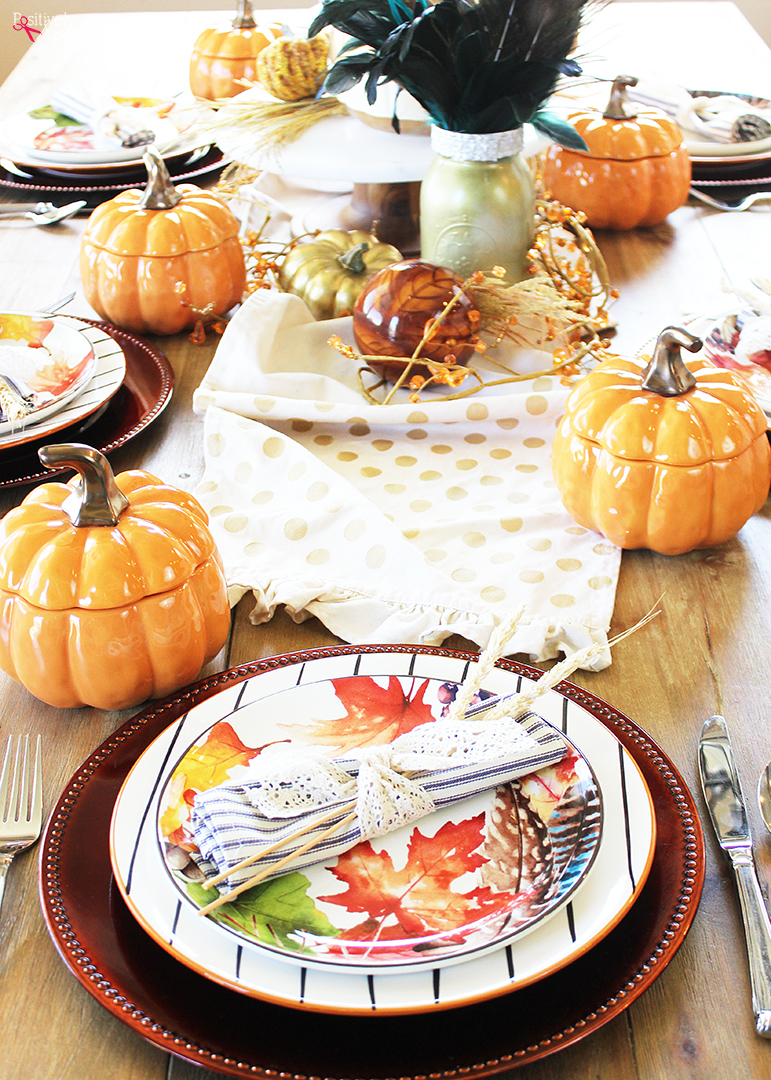 This colorful fall tablescape would be perfect for holiday entertaining! #bhglivebetter