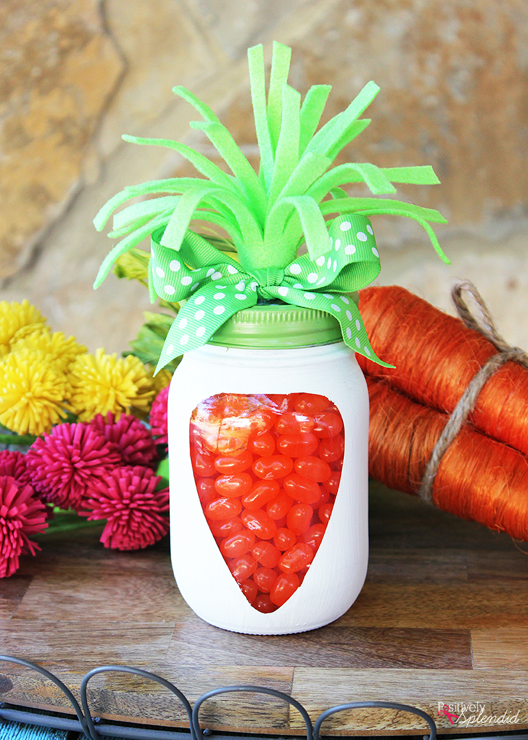 Adorable Mason Jar Carrots are perfect for Easter, and so easy to make!