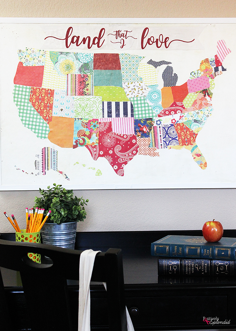 United States Mod Podge Bulletin Board - A great idea for sprucing up an old cork board! #plaidcreators