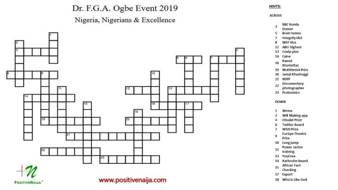 FGA Ogbe Excellence Word search 2019