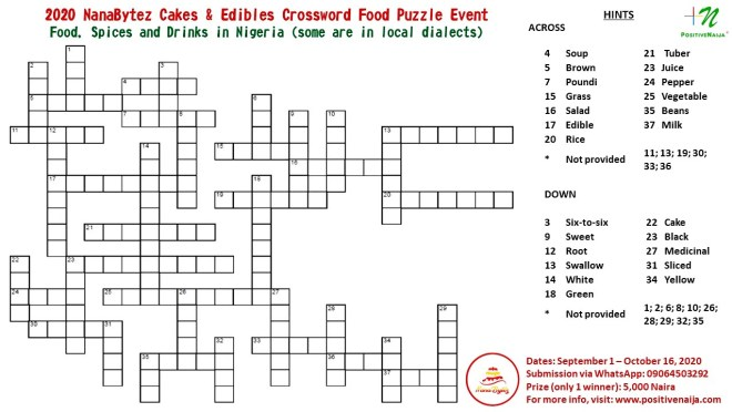 2020 NanaBytez Cakes & Edibles Crossword Food Puzzle Event