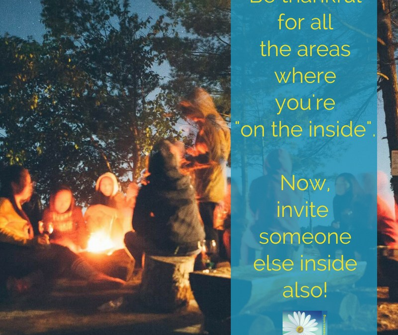 Invite someone to join you inside.