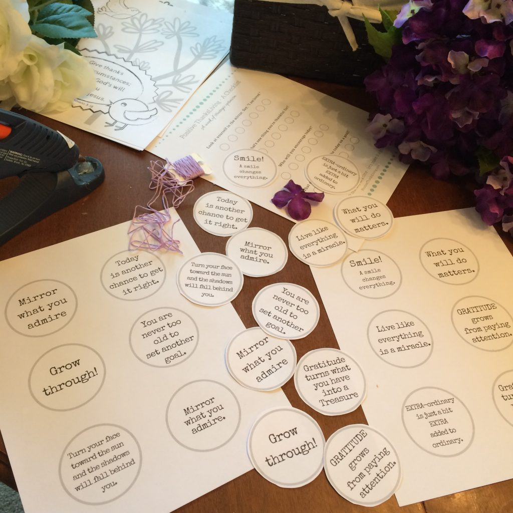 Make a Positivity Garland - use the prompts, some string, and flowers.