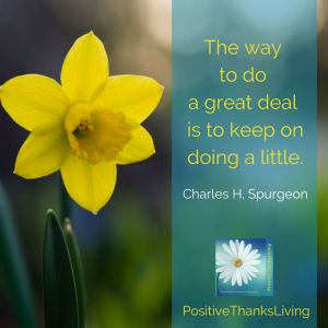 The way to do a great deal is to keep on doing a little