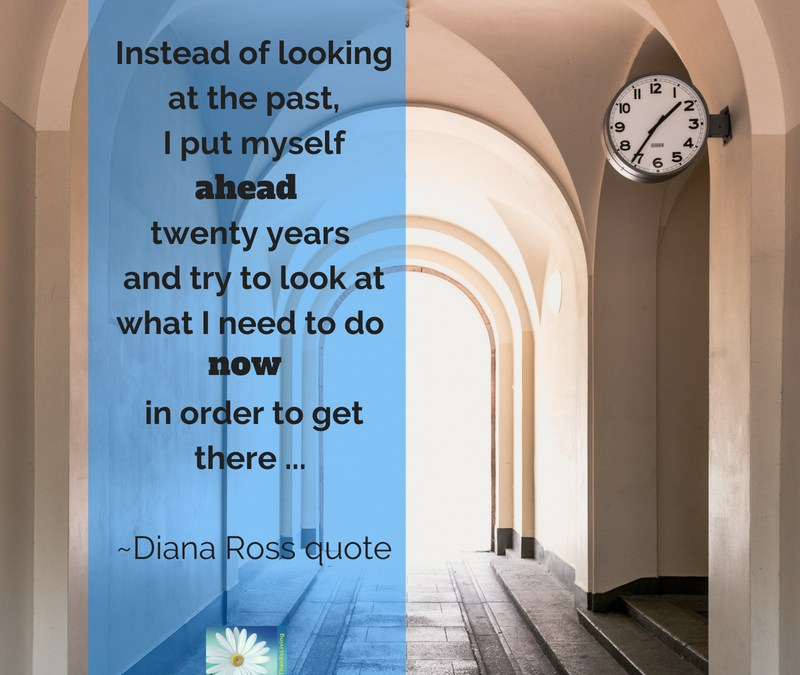 "Look to the future! ""Instead of looking at the past, I put myself ahead twenty years and try to look at what I need to do now in order to get there then _Diana Ross quote"