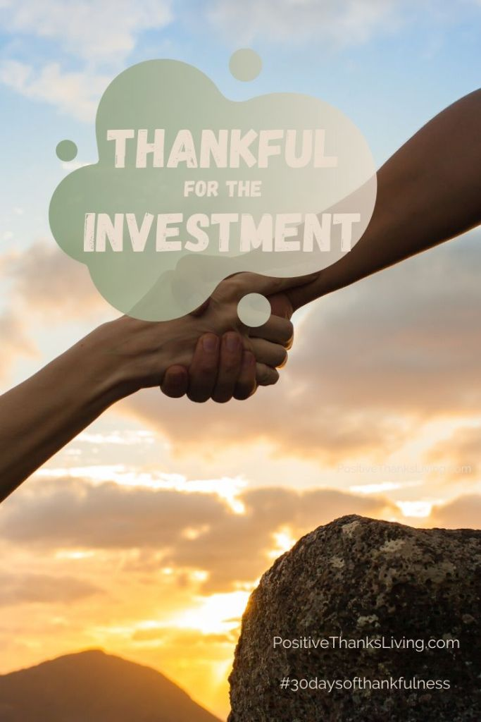 We don't walk through life alone. Who has invested in you? Be thankful for that investment. Record it!