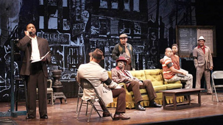 "The 'Jitney' cast The cast of ""Jitney"" at the final moment of the play: (left to right) Hassan El-Amin (Booster), John Beasley (Turnbo), Asemo Omilami (Shealey), Eugene Lee (Doub), Anthony Mackie (Youngblood), Roslyn Ruff (Rena) and Montae Russell (Philmore)."
