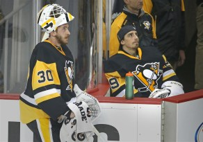 Penguins goalies Matt Murray (left) and Marc-Andre Fleury look at the scoreboard during the first period of Game 4 against the Washington Capitals on May 4 at Consol Energy Center.