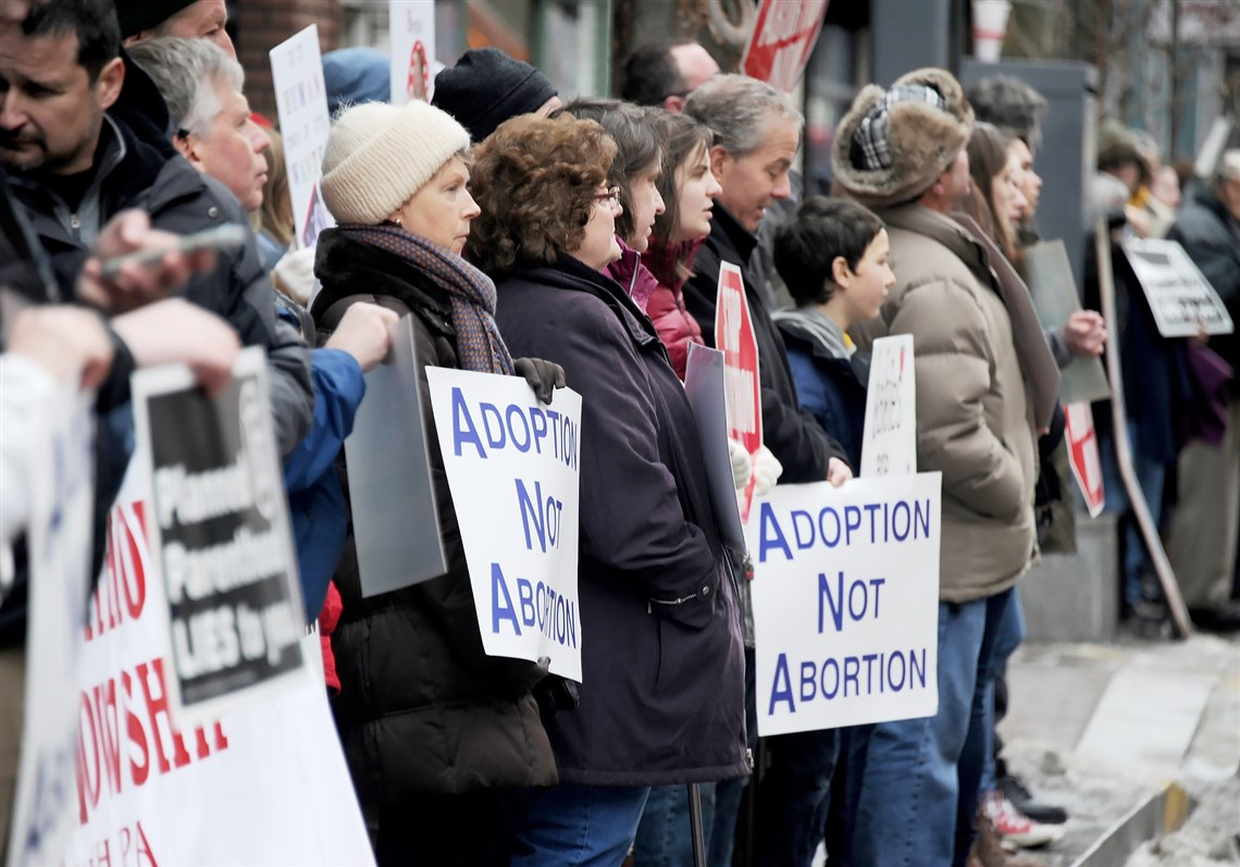Pro Life supporters rally at a Planned Parenthood facility, Downtown, in February.