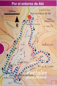 Mapa sendero Abi Valle Aísa - Postales para Mamá