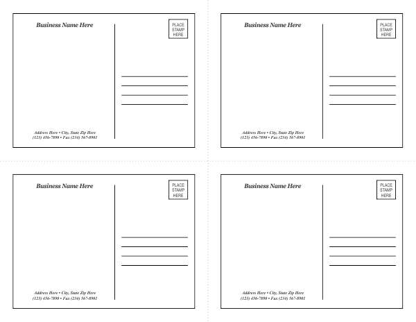 Postcard Examples Templates postcard template jpg postcard – Postcard Format Template