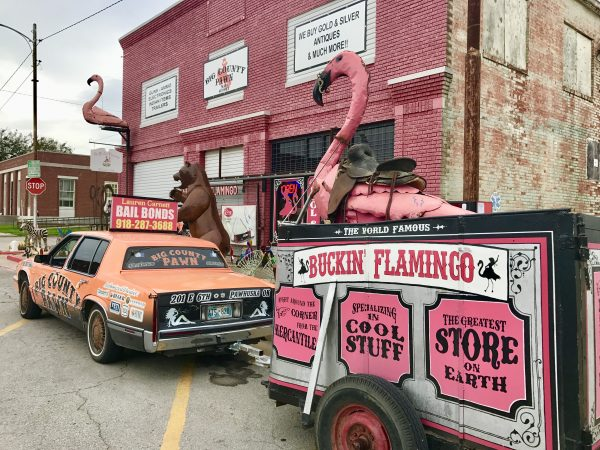 Buckin' Flamingo Cadillac and trailer