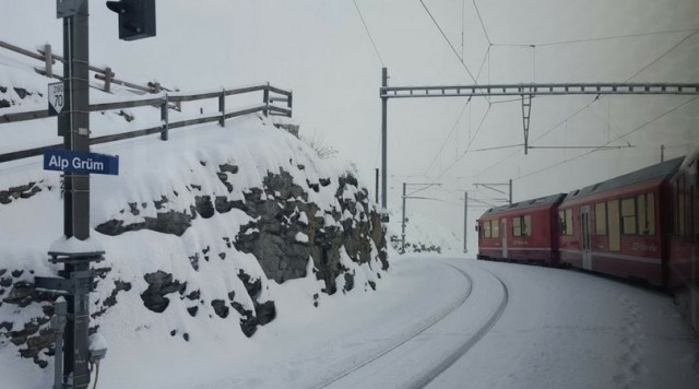 A view of the Bernina Express from withing the train as we made our way through the Alps. [Photo: Nicole Lamberson]
