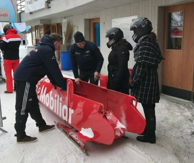 Preparing to get in the bobsleigh and journey down the track. St. Moritz, Switzerland. [Photo: Nicole Lamberson]