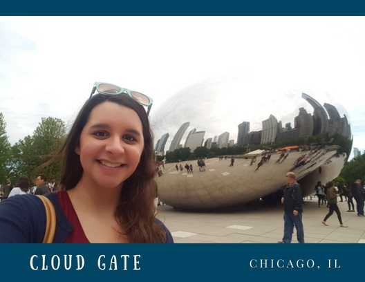 Front of Chicago Postcard, Image of Nicole in front of the Cloud Gate