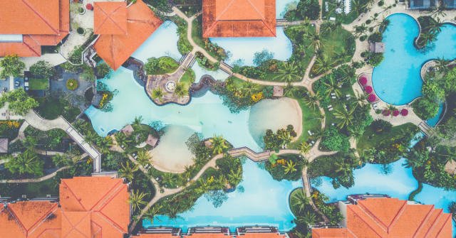 Birds Eye view of a hotel resort