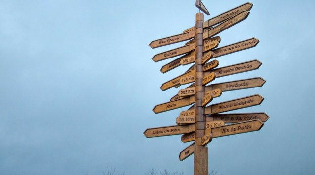 Wooden sign post with arrows marking the direction of different destinations. - Disappointing Destination